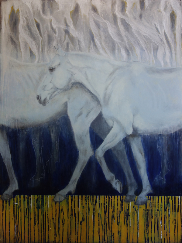 Road Out, by Begoña Lathbury, is an acrylic painting on wood panel that depicts grey horses walking to the left.